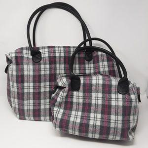 Handbags - Flannel Plaid Matching Travel Overnight Bags Set